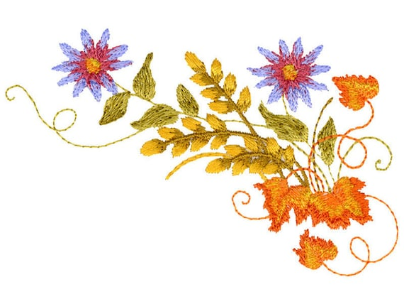 Flowers Embroidery Design Modern Designs Machine Embroidery Etsy