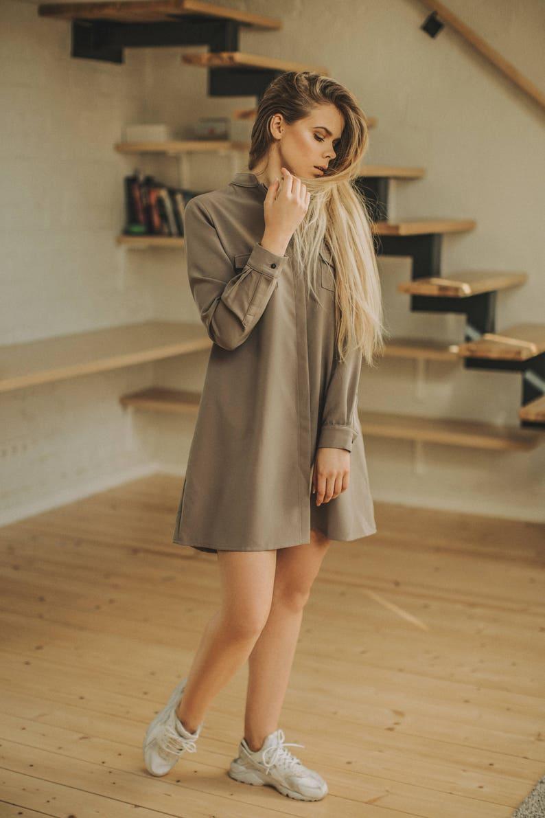 31cc0067efb Shirt dress Oversized dress Brown button down shirt tunic