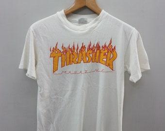 68e1f8a56ec Vintage Thrasher Big Logo Pull Over Shirt Skate Streetwear Magazine Size M