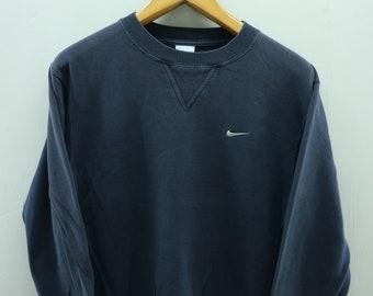 Vintage Nike Minimalist Logo Sweatshirt Pull Over Sport Hip Hop Street Wear Sweater Size M
