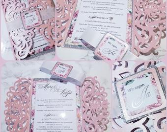 Papercut Wedding Invitation, Wedding Invitation Cards, Glossy Mother of Pearl Elegant Wedding Various Colors + Flower