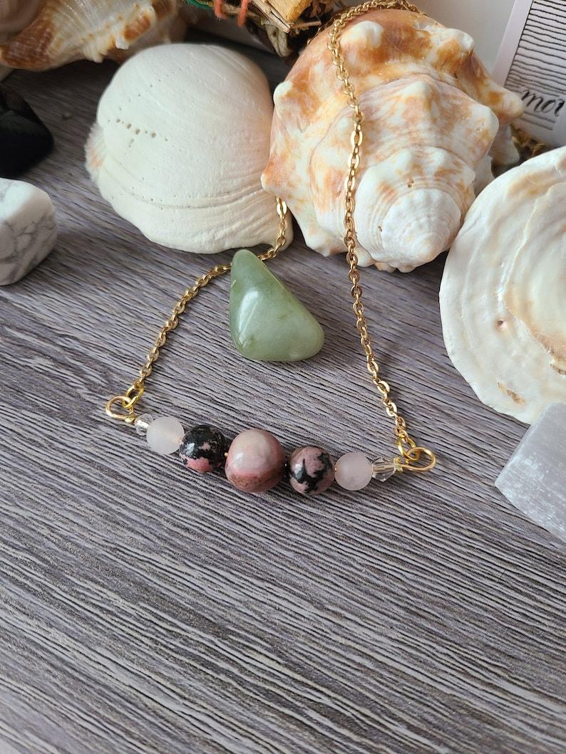 Rhodonite Gemstone Necklace with Rose Quartz Chakra healing jewelry