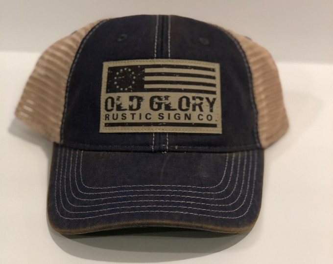 Old Glory Rustic Sign Co trucker ball cap