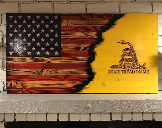 Wooden Gadsden Flag, Wooden Don't Tread on Me/USA flag, Rustic Wall Art. Wooden American Flag