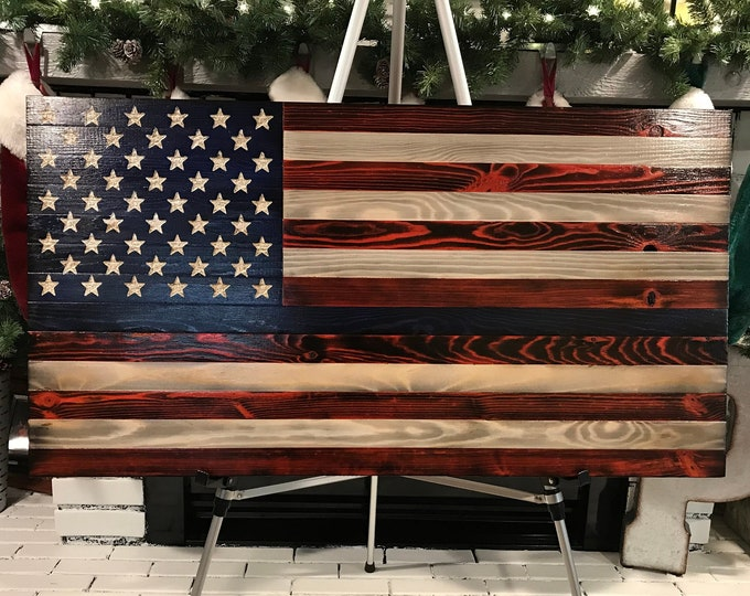 Unique Rustic Thin Blue Line  Red, White and Blue Wooden American Flag