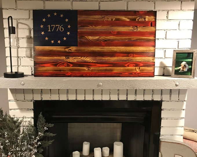 The Betsy Ross 1776 Natural American Wooden Charred Flag, Veteran crafted, Handcrafted, American Flag Wall Art, Subdued Betsy Ross