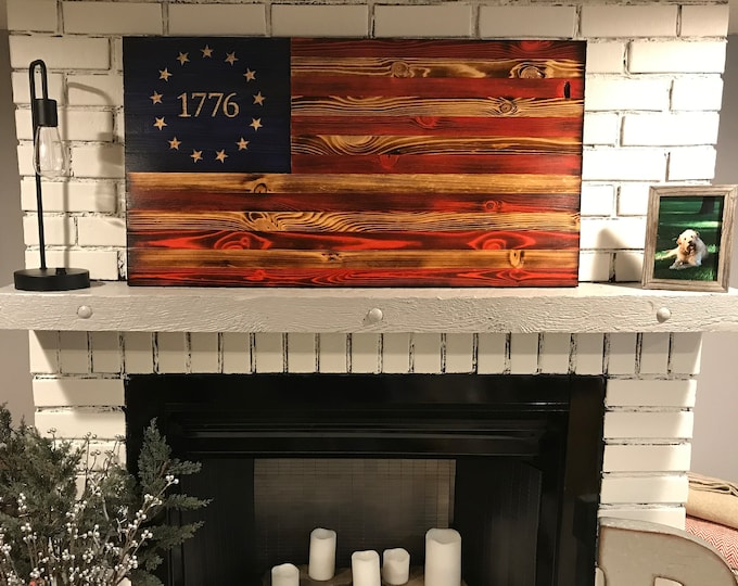 The Betsy Ross 1776 Natural American Wooden Charred Flag, Veteran crafted, Handcrafted, American Flag Wall Art