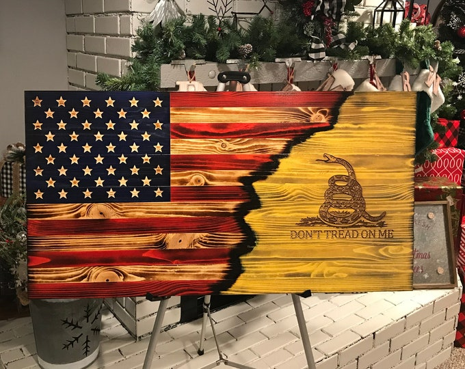 The Rustic Gadsden Charred Yellow,  Wooden Gadsden Flag, Wooden Don't Tread on Me/USA flag, Rustic Wall Art. Wooden American Flag