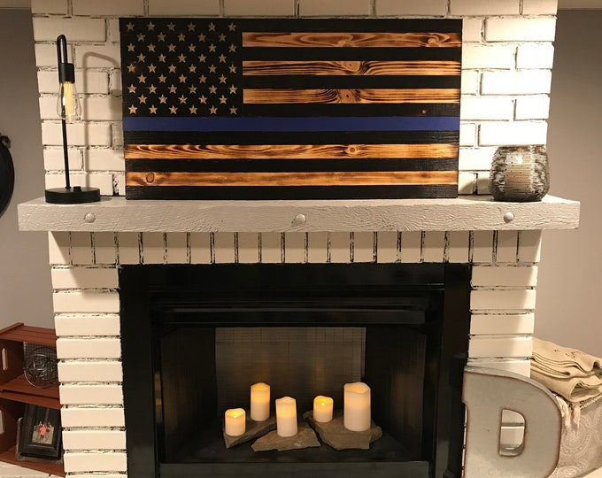 Thin Blue Line American Rustic Flag, Thin Blue Line Wood Flag, Subdued Thin Blue Line