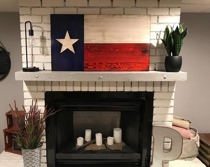 Texas Wooden Rustic Charred Flag