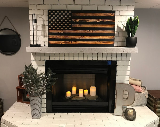 The Subdued American Wooden Flag, Black Stripes, Veteran Crafted, Handcrafted, Charred Flag, Distressed Wooden Flag, Rustic American Flag