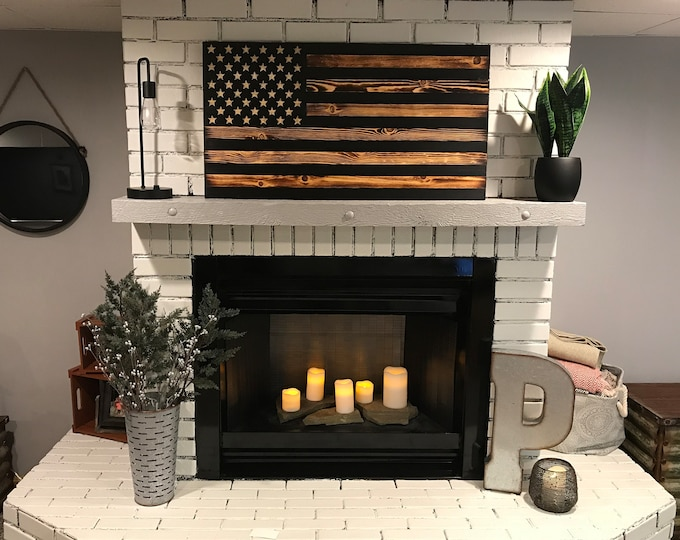 The Rustic American Wooden Flag Charred Black Stripes, Rustic Decor, Veteran made, Handcrafted, Modern American Flag, American Flag Wall Art