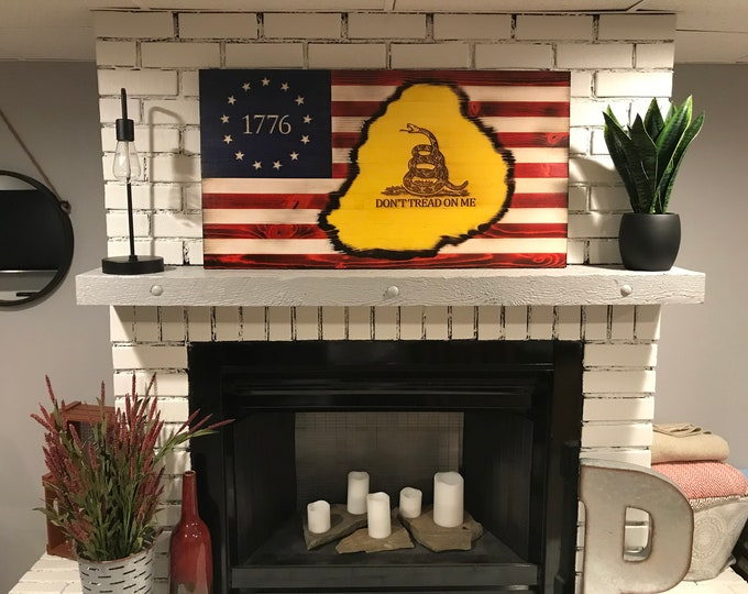 The Original Betsy Ross /Gadsden Don't Tread on Me, Subdued Gadsden, 1776 Betsy Ross Flag Art, Don't Tread on Me American Flag, Handcrafted