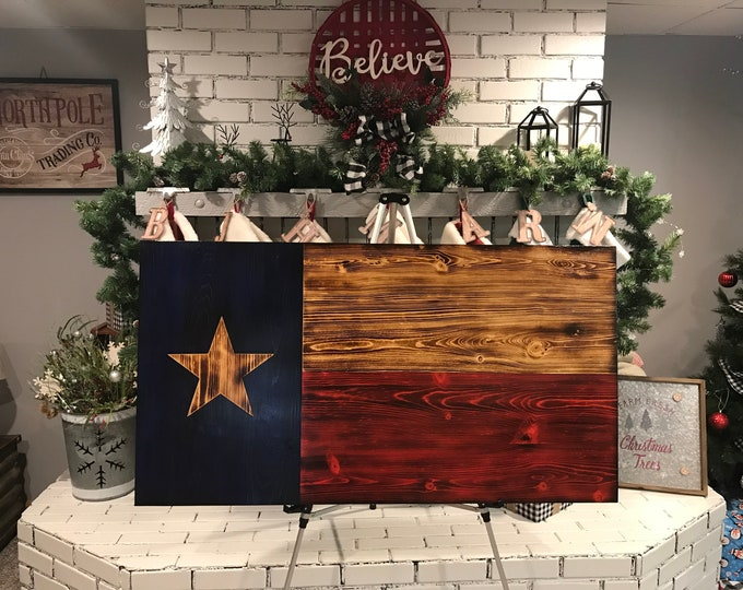 Texas Flag Natural Pine Rustic Charred, Subdued Wooden Flag, Veteran Made, Handcrafted