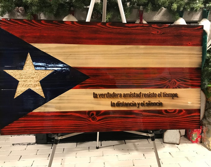 Rustic Wooden Puerto Rico Flag