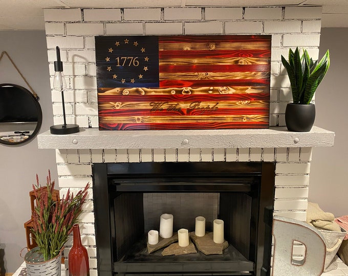 The Betsy Ross 1776 We The People Natural American Wooden Charred Flag, Subdued We The People, Veteran Crafted, We The People Flag