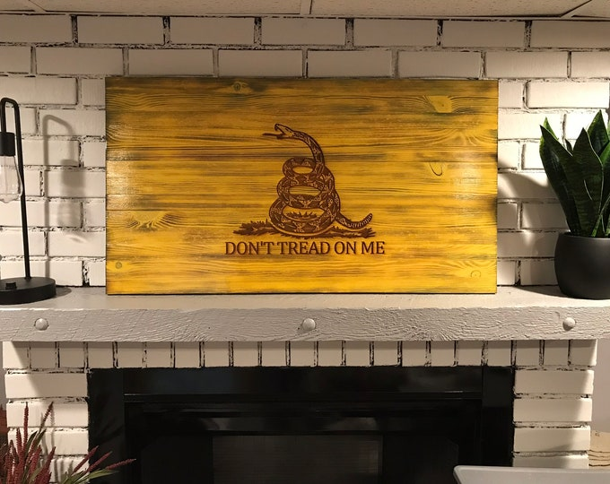 "Gadsden Charred Rustic Flag ""Don't Tread on Me"", Veteran Crafted, Subdued Flag, Handcrafted, Wooden Gadsden Flag, Flag Wall Art"