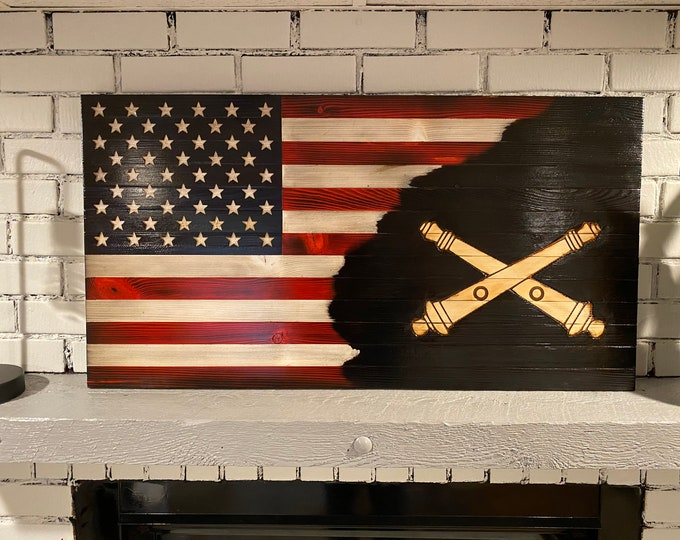 Charred Artillery American Wooden Flag, Red, White and Blue Rustic, Subdued American Flag, Artillery Flag, Veteran Crafted