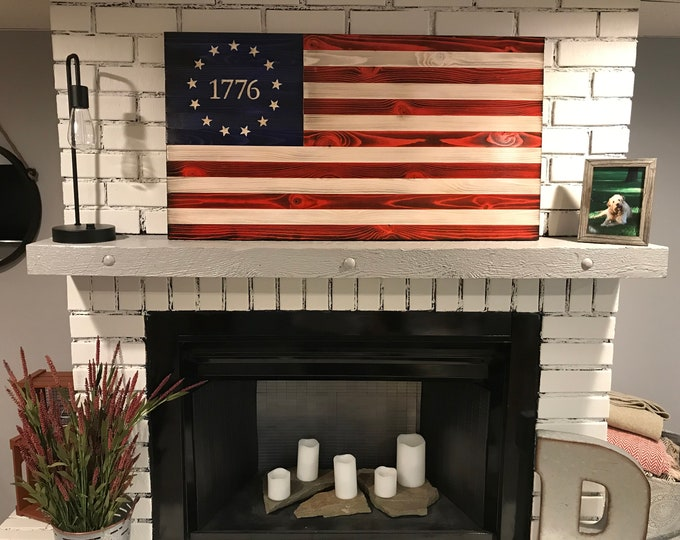 The Betsy Ross 1776 Original, Traditional Red, White and Blue American Wooden Charred Flag, Veteran Made, Handcrafted, USA wall art