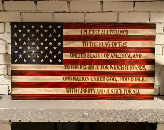The Original Pledge of Allegiance Flag, Subdued American Flag, Veteran Crafted, Handcrafted, Flag Wall Art, Charred American Flag