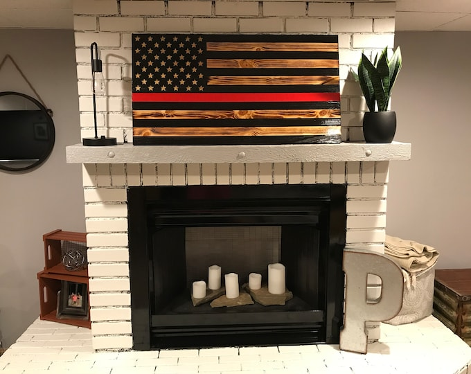 Thin Red Line American Wooden Charred Flag, Rustic Thin Red Line, Red Lives Matter, Veteran Crafted, Subdued Wooden Flag, Handcrafted