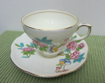 EB Foley, English Bone China, Tea Cup & Saucer, Backstamp used 1948-1963, Hand-Painted Roses with Rosehips - Please see Description