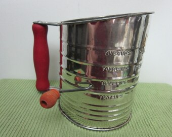Vintage Bromwell's (Made in the USA) Measuring Sifter, Wooden Handle and Wood Knob on Crank - Please see Description for More Information