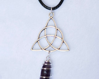 Triquetra and polished Amethyst Necklace | Triquetra Necklace with Polished amethyst