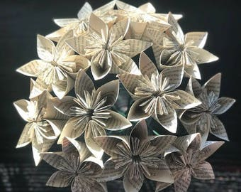 Folded Paper Book Flowers