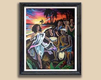 Puerto Rico wall art Puerto Rican  Bomba Costera Print Gift for Puerto Rican Bomba y Plena Latino Art Arte Boricua Puerto Rican afrolatino