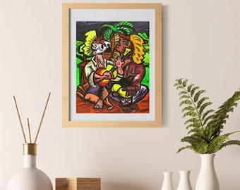Puerto Rico wall Art Puerto Rican art gift Hispanic Heritage Latin American Art Jibaro Art Puerto Rican Music Print  Jibaritos by Obed Gomez