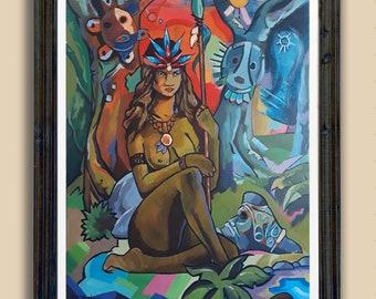 Taino Art Puerto Rico wall art Puerto Rican Taino Pride  Boricua Roots Island Taino Symbols Taino Artist - Boriken  Art Print