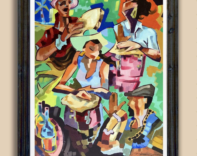 Puerto Rico wall Art Colorful Art Caribbean Art Latina art Afro Boricua Latino Art Abstract art piece Las Congueras Art Print by Obed Gomez