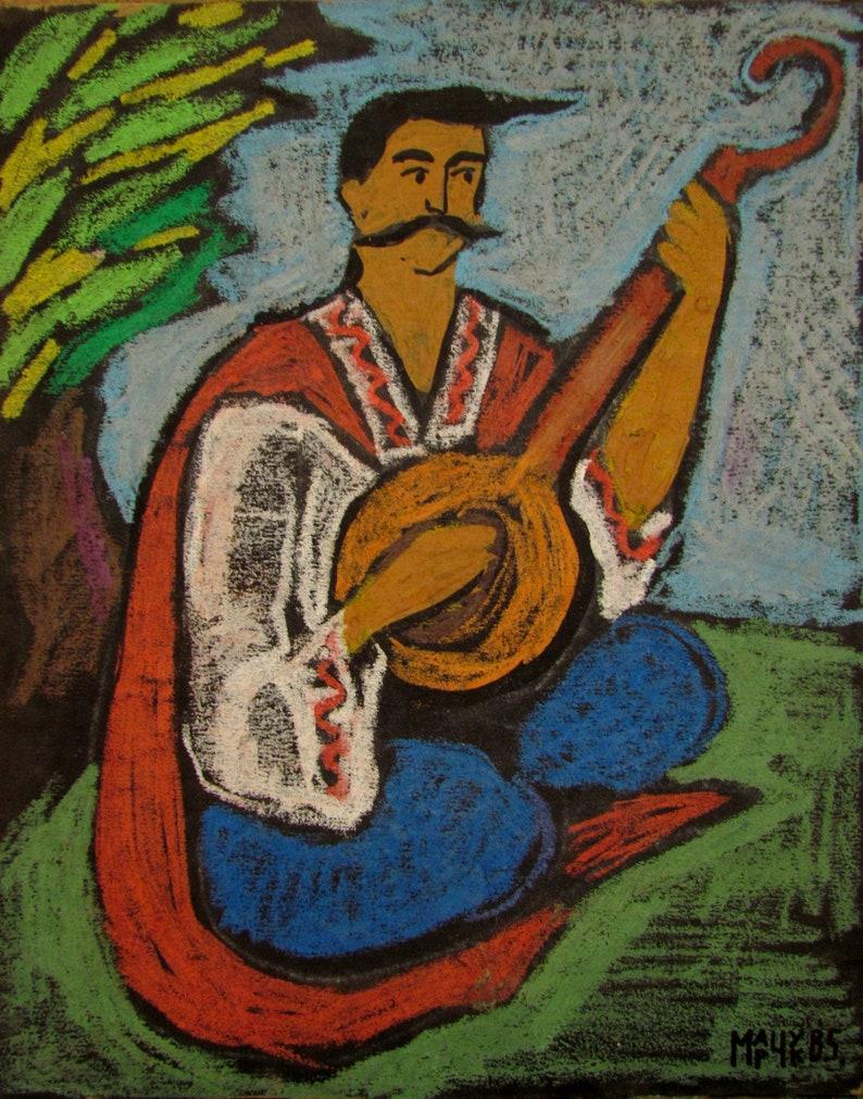 Cossack Mamai Cossack painting Bandura art,Ukrainian national costumes Ukrainian cossack Cossack and bandura Ukrainian art