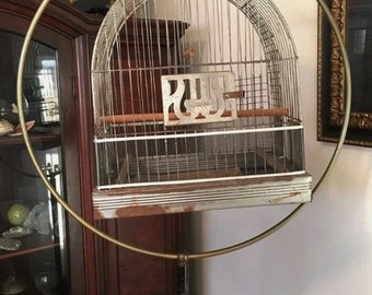 Vintage Brass and Steel Floor Standing Bird Cage circa 1930-1940