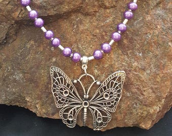 Shades of Purple Bead and Butterfly Necklace