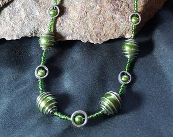 Shades of Green bead Necklace