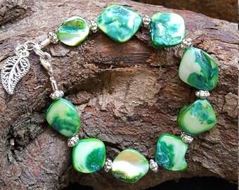 Chunky Green Shell Bracelet