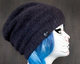 f86b1cfa70f Slouchy Beanie Smoke Gray - Handknitted Luxury Knit Hat