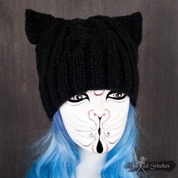 Kitty Cat Ear Beanie Hat BLACK Slouchy cat hat Cat lovers  49c4fdcae79
