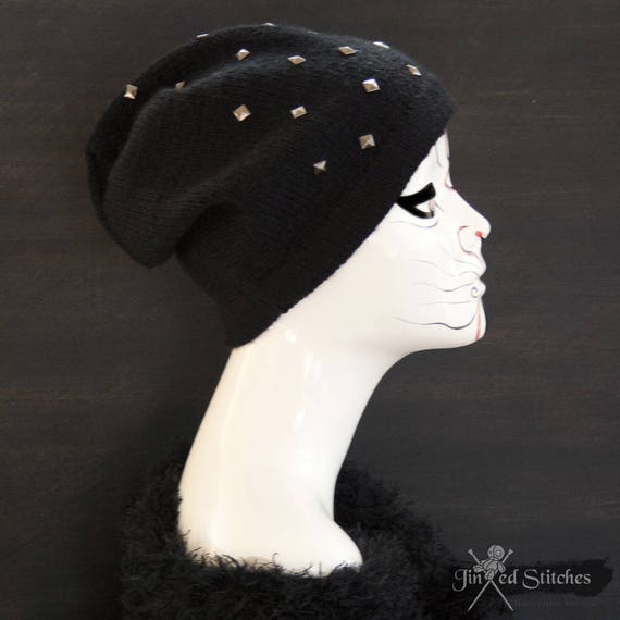 Womens studded knitted beanie hat Black winter knit hat  4dec9a9b63