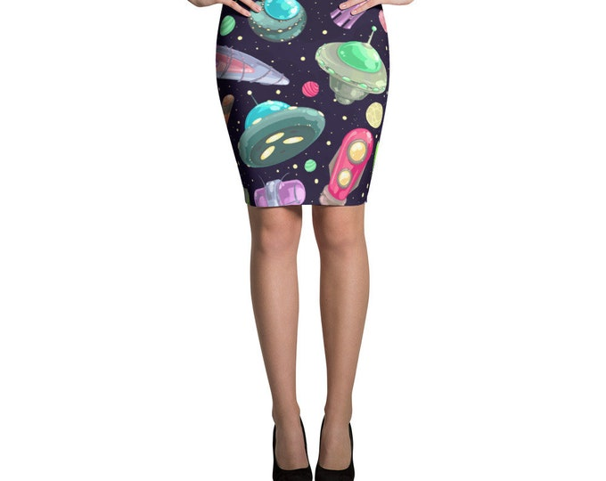 Featured listing image: Spaced Out Spaceship Pencil Skirt - UFO Spaceship Skirt