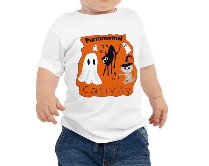 Featured listing image: Fun Halloween Shirt - Baby Halloween Shirt - Boys Halloween Top - Purranormal Cativity Toddler TShirt