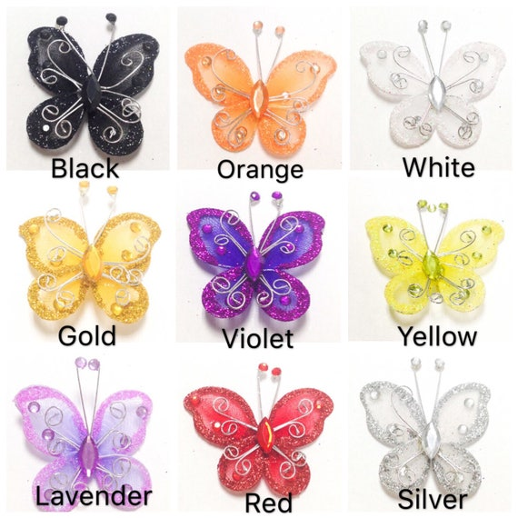 3  Colour Options 20 Iridescent Butterfly Embellishments
