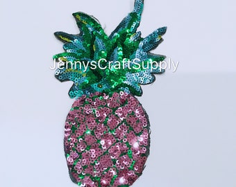 Pink Pineapple Sequin Appliqué with adhesive on the back
