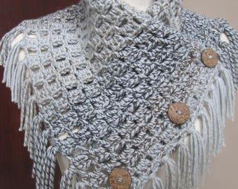 Margaret Button Cowl, Beautiful Fringed Crochet Cowl, Button Closure, Warm Winter Wrap,