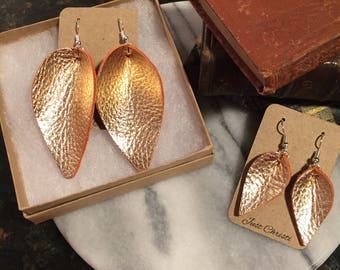 Rose Gold Leather Petal earrings and Rose Gold mini petal earrings