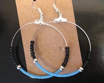 Turquoise and black bead hoop earrings