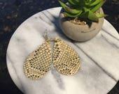 Gold snake print leather teardrop earrings