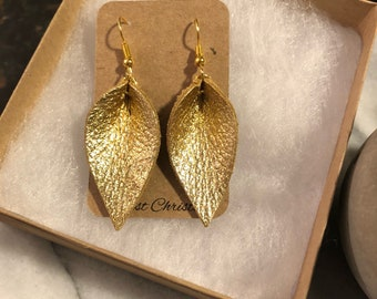 Mini Gold petal leather earrings